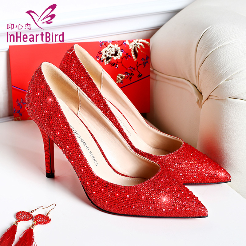 Diamond wedding shoes bridal shoes red high heels wedding shoes women summer golden fine with pointed shoes crystal wedding shoes