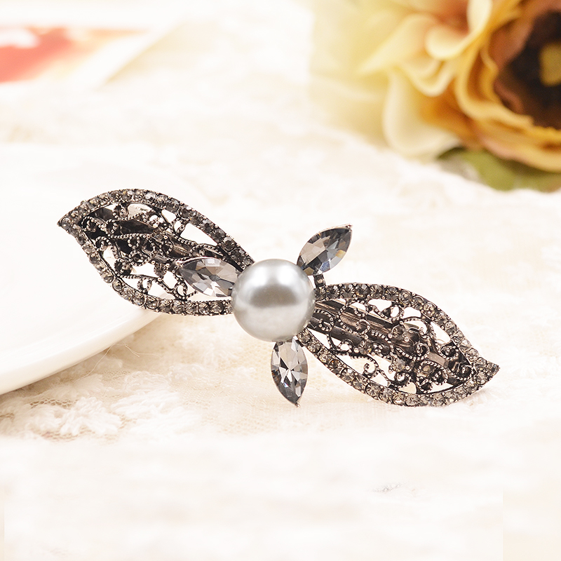 Dianshang diamond imitation pearl bow spring clip top folder korean temperament retro diamond bangs hairpin jewelry