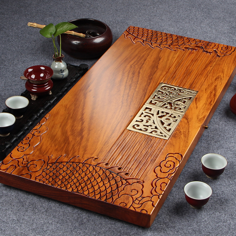 Diao inblock tablet ugyen wood single drainage tea sea large red wooden wood tea tray kung fu tea tea tray