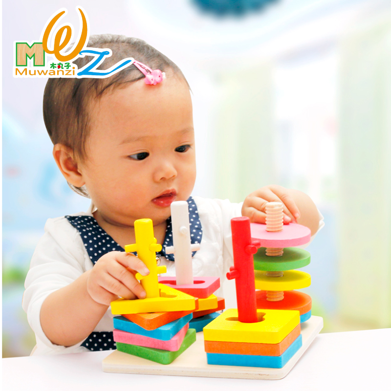 Dimensional jigsaw puzzle wooden children's mental shape matching blocks infants and young children 3 years old baby educational toys force 1-2-year-old
