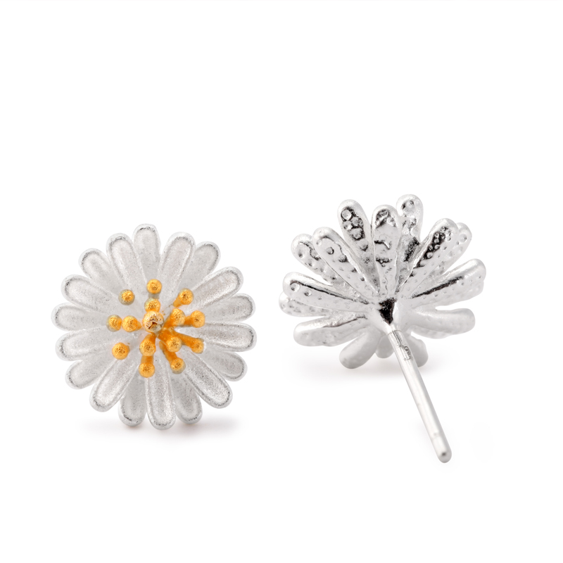 Dimentional · luo · carolina daisy earrings female s925 silver jewelry korean fashion sweet fungus nail to send his girlfriend