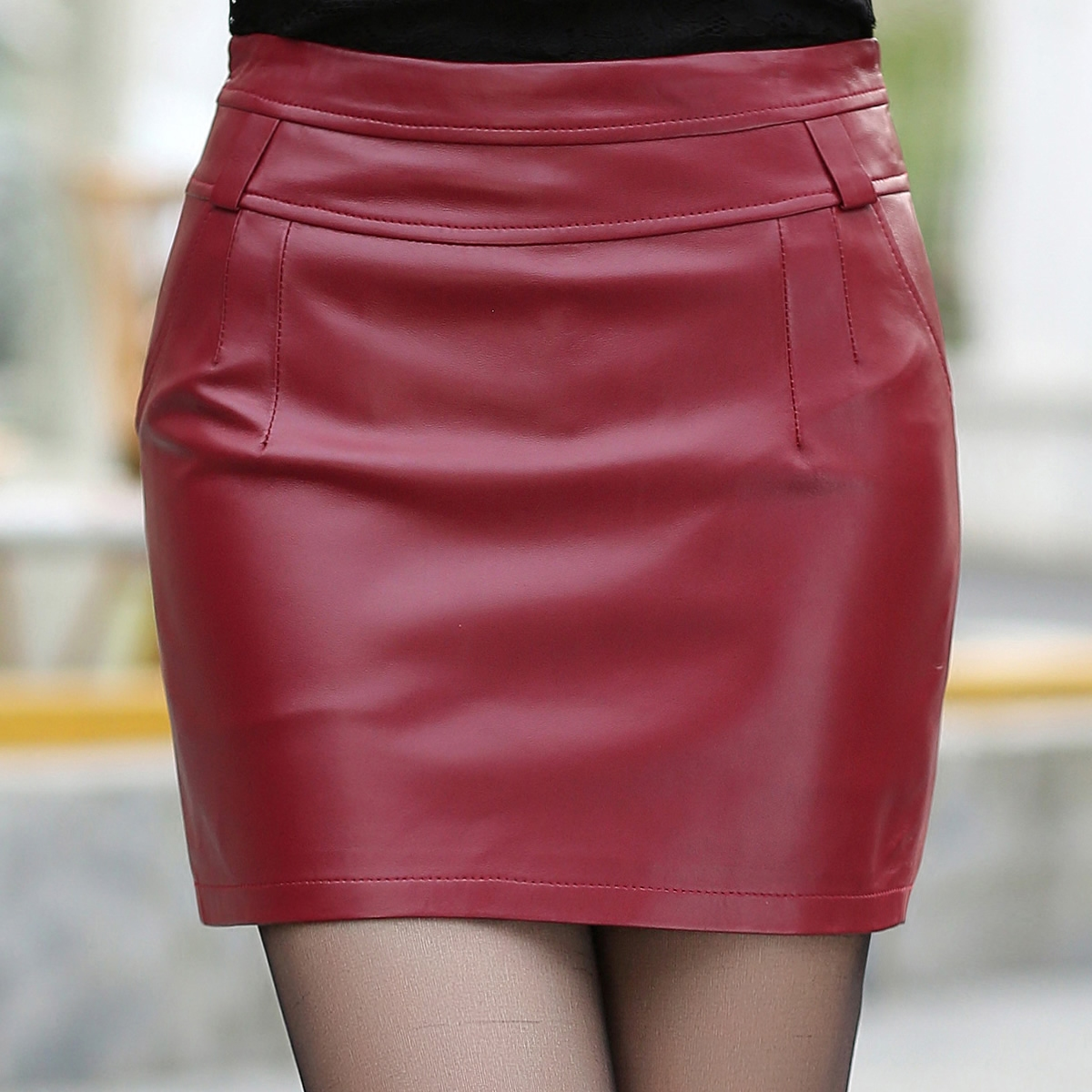 Ding yang yang 2015 new winter haining leather sheep leather skirt leather skirt was thin package hip skirts