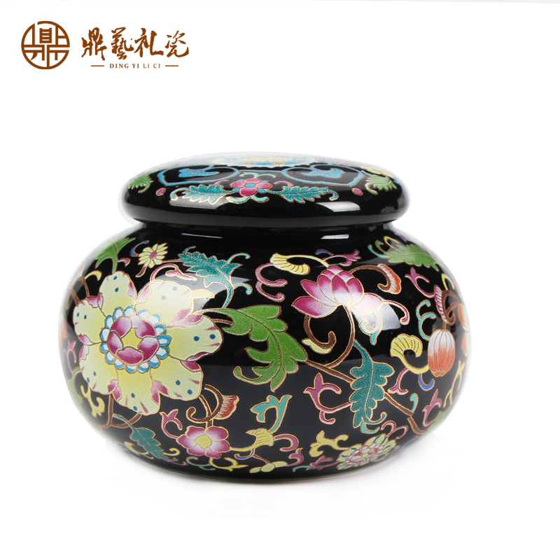 Ding yi boutique black glaze ceramic canisters canister trumpet powder pu'er tea home decoration
