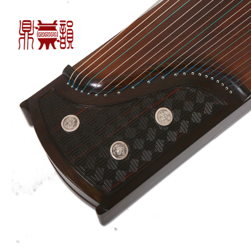 [Ding yun pro chop king flagship store] huang zheng zheng han and tang rhyme old mahogany fret silver buckle collection zither