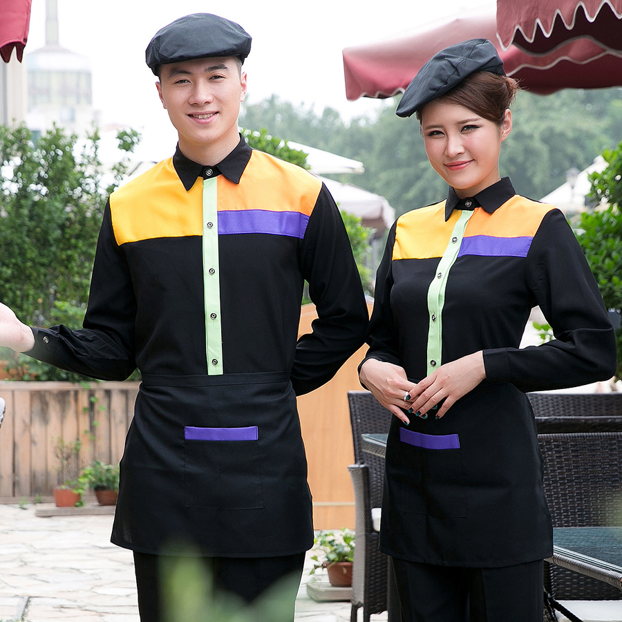 Dingheng new hotel restaurant uniforms sleeved overalls fall and winter clothes attendant uniforms restaurant waiter
