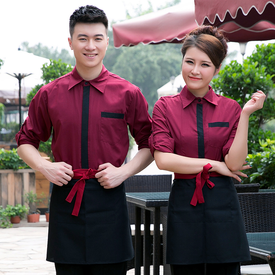 Dingheng new hotel uniforms hotel restaurant waiter overalls overalls fall and winter clothes for men and women long sleeve