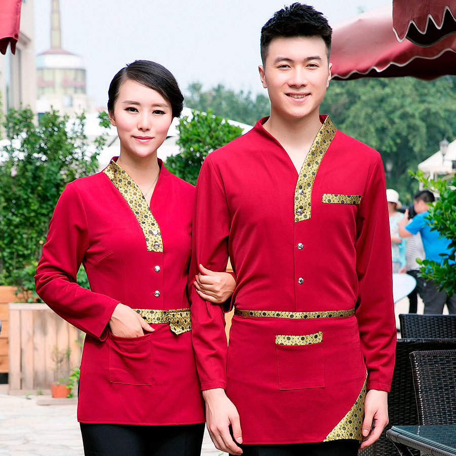 Dingheng sleeved overalls hotel restaurant uniforms restaurant waiter fall and winter for men and women dress uniforms