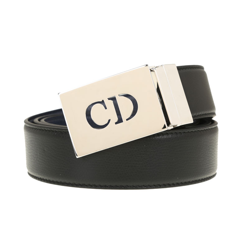 Dior/dior classic fashion solid color logo sided 4156PL plate buckle leather belt business men