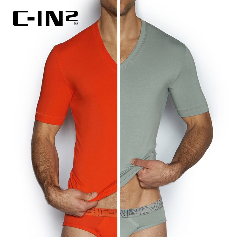 [Discounted] c-in2 imported solid color short sleeve v-neck t-shirt bottoming shirt men short sleeve two loaded