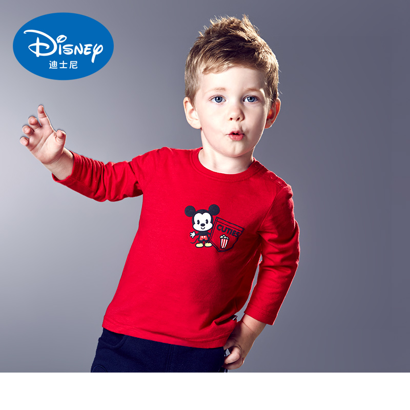 Disney children's clothing for boys and girls autumn paragraph cartoon long sleeve t-shirt round neck sweater leisure wild child clothing free shipping
