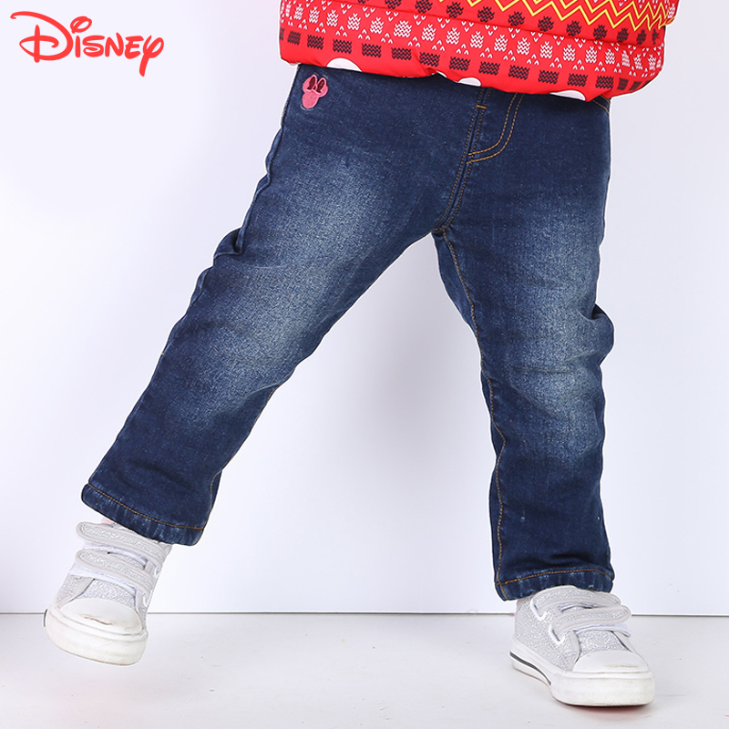 Disney children's jeans plus velvet baby infant boys and girls jeans trousers children pants fall and winter years