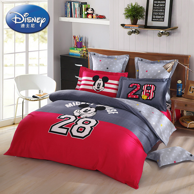 Disney produced carolina cotton three/family of four cotton children's cartoon style fashion mickey bed linen products