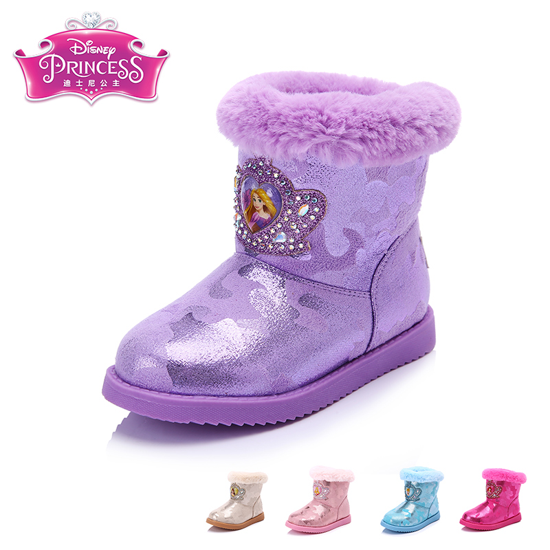 Disney's 2016 winter new big virgin plus velvet slip snow boots fashion women's shoes princess shoes children shoes