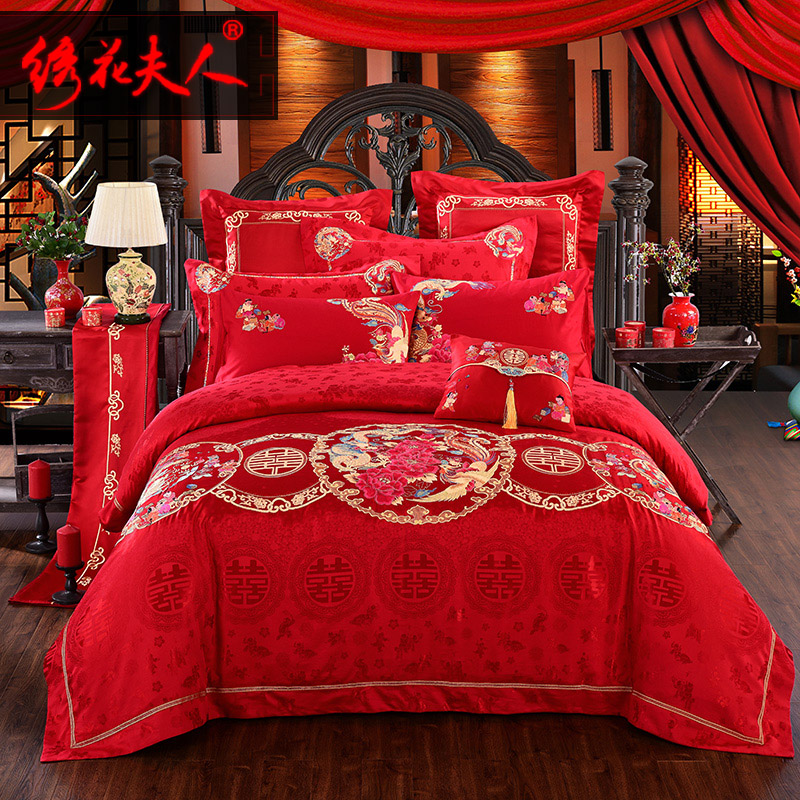 Divine in mrs. embroidered big red dragon and phoenix embroidered wedding celebration bedding bedding suite