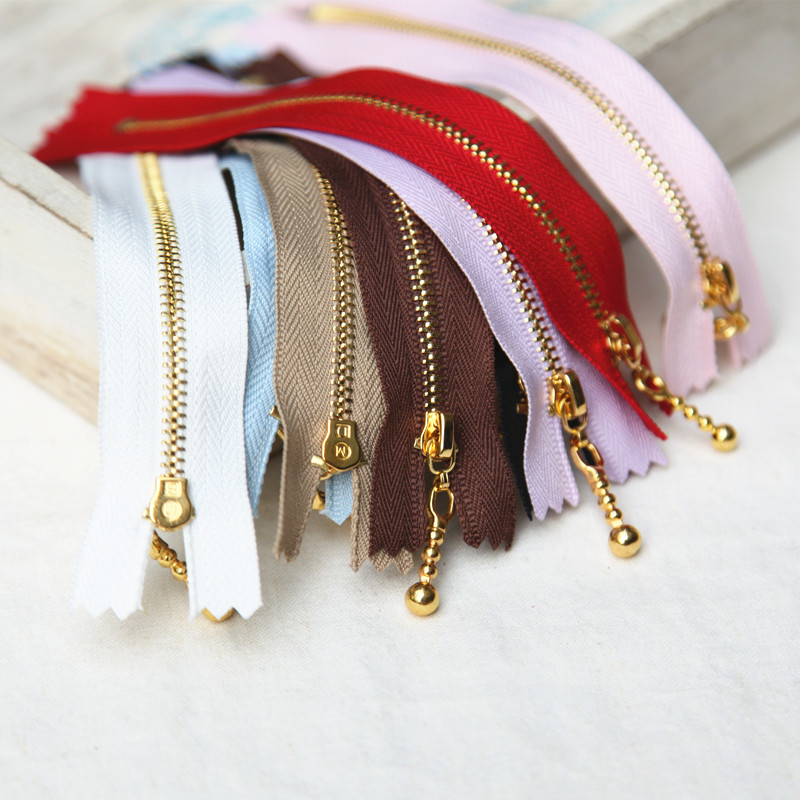 Diy handmade accessories gold zipper teeth smooth good zipper pull copper head drops 12/15/20 cm