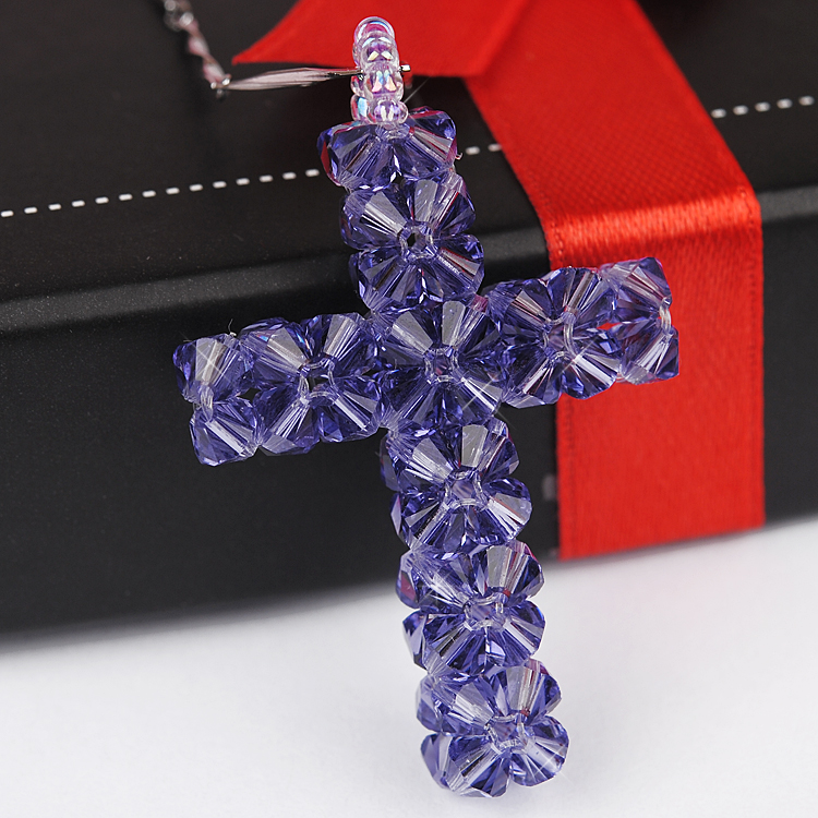 Diy handmade beaded jewelry austrian crystal necklace short paragraph clavicle material pack horse with embedded in the cross