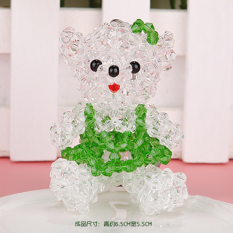 Diy handmade beaded strap bear teddy bear material package aaa crystal couple phone pendant ornaments