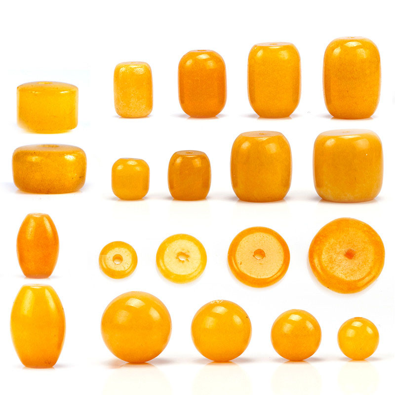 Diy imitation chalcedony beeswax amber yellow chanterelles barrel bead spacer pad measle handmade beaded accessories accessories