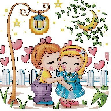 Dmc embroidery stitch new living room cartoon KT1940 love story of love