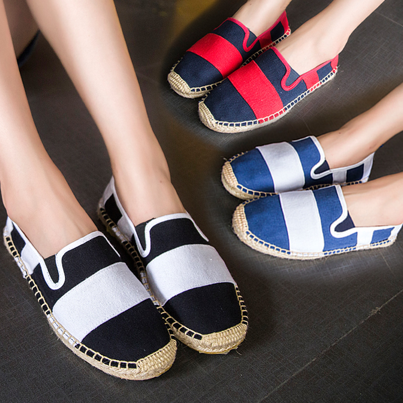 Do not say summer korean breathable canvas shoes shoes set foot lazy shoes women casual shoes black and white striped pattern straw