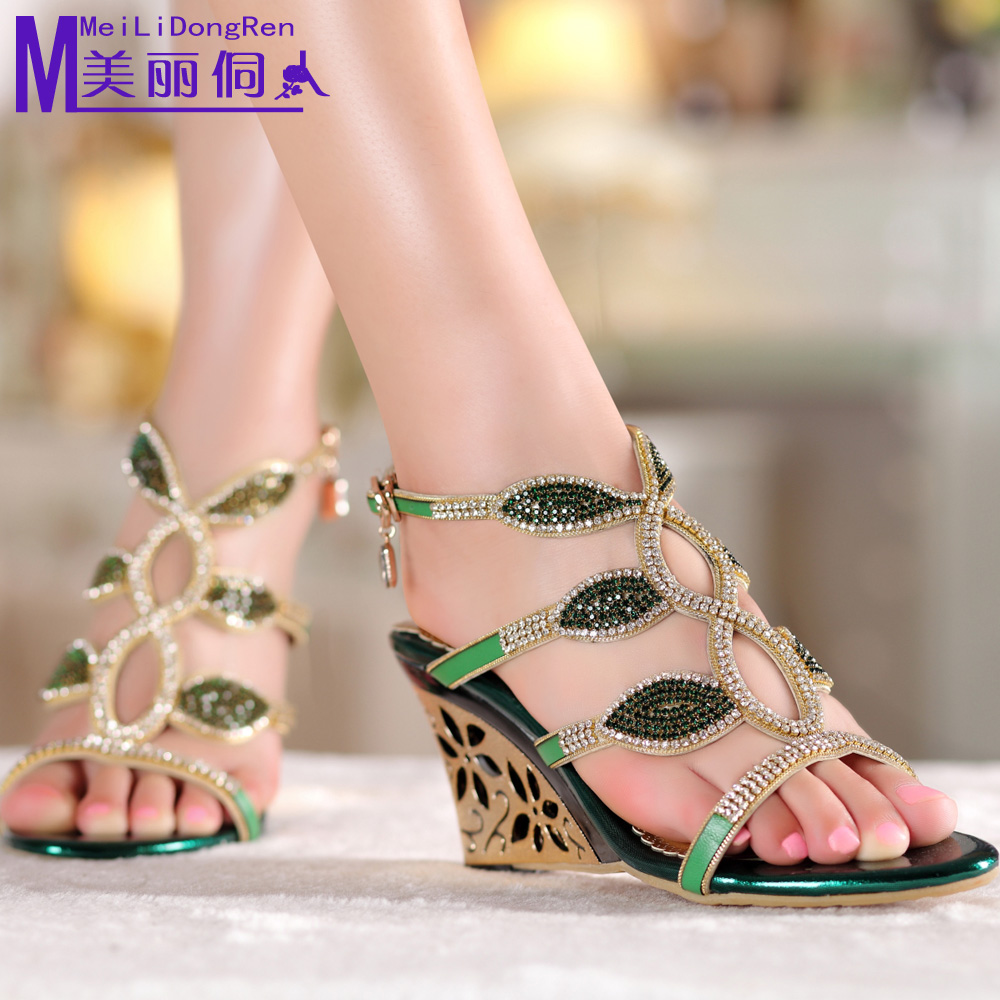 China Beautiful Sexy Sandals Shopping Fashion Shoes Pretty Heels Get Quotations Dong People 2016 New Diamond Slope With Rome Hollow High