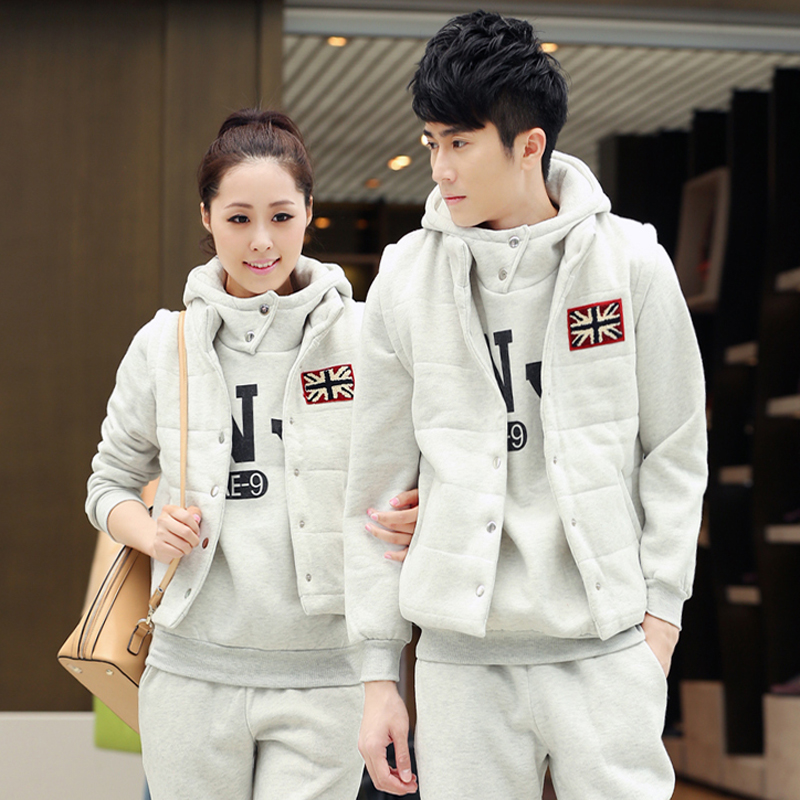 Dongkuan sweater three sets of sportswear for men and women lovers big yards korean version of casual clothes suit thick fleece