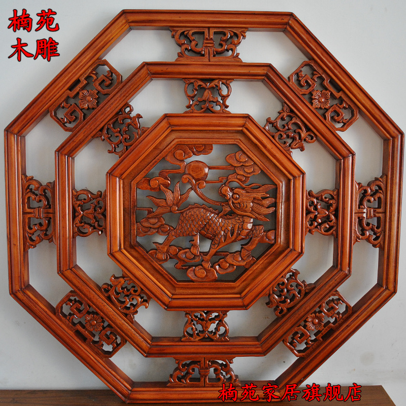 Dongyang wood carving camphor wood carving pendant chinese decoration hanging off the entrance wall backdrop octagonal screen unicorn