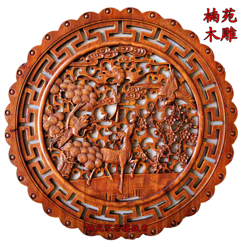 Dongyang wood carving camphor wood circular pendant pendant chinese entrance wall backdrop screen disc gods hi