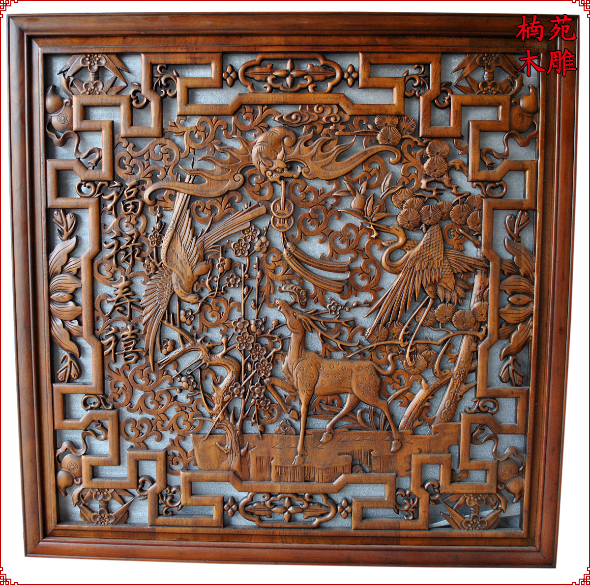 Dongyang wood carving square pendant chinese entrance wall tv backdrop screen camphor wood carving wood carving gods hi