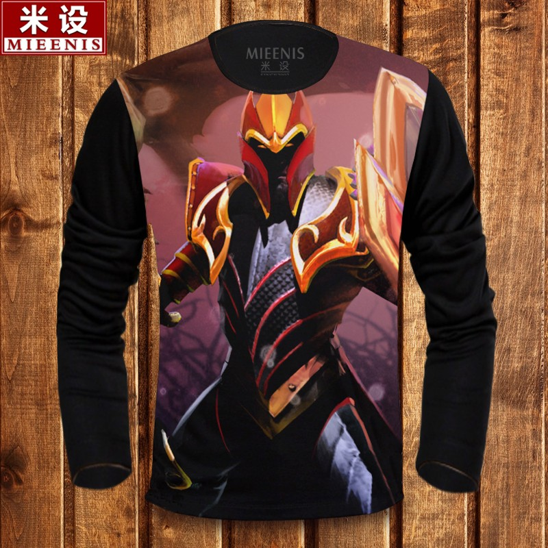 Dota2 carl dragon knight clothes long sleeve t-shirt men clothes juggernaut turret 2 students bottoming shirt men clothes T