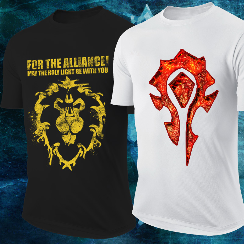 Dota2 warcraft alliance t-shirt men's cotton t-shirt alliance world of warcraft tribal mark