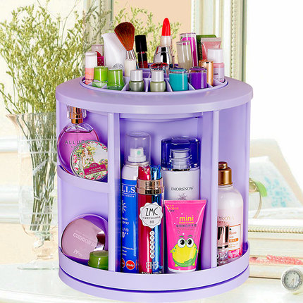 Double celebration at home 360 degree rotation desktop skincare cosmetics storage box storage cabinets storage rack finishing packer post