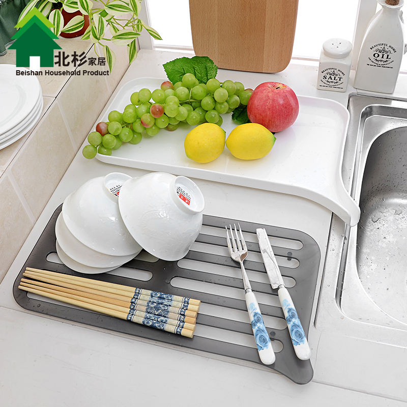 Double celebration creative multifunction double drain kitchen dish rack dishes drip drain basket of fruit and vegetable rack thick drain pan