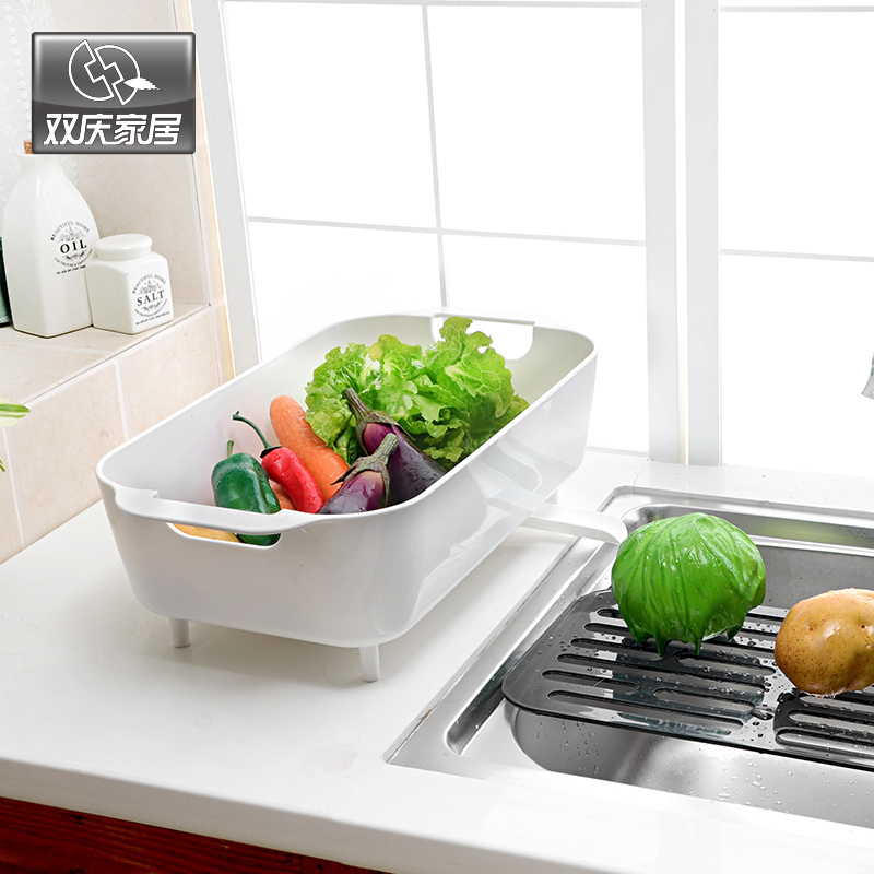 Double celebration kitchen shelving racks plastic fruit plate fashion fruit pots vegetables basin drain basket drain vegetables basin Basket
