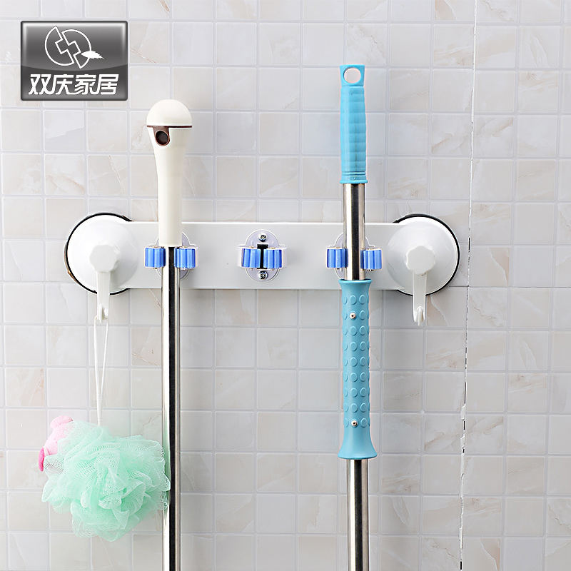 Double celebration powerful sucker multifunction mop mop rack shelf broom mop hanging rack bathroom drag cloth rack shelf hooks