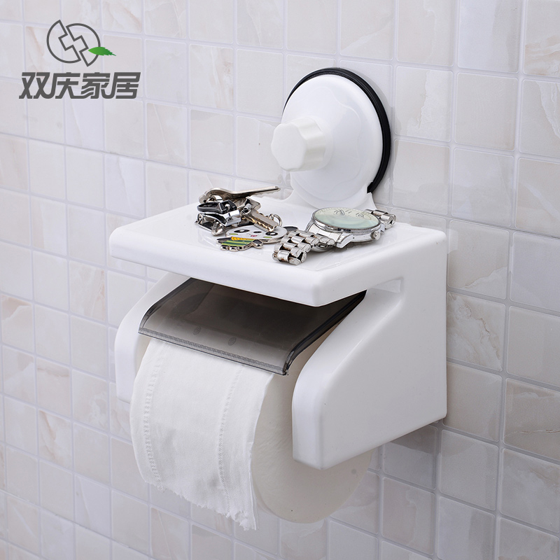 Double celebration sucker bathroom towel rack free punch living room bathroom toilet paper holder toilet paper cassette reel spool rewinder