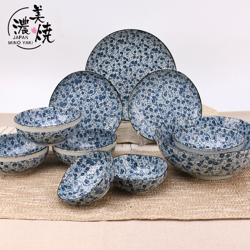 [Double pick one new] mino burn-ancient stained ceramic tableware pattern spring 10 head Irregular suit