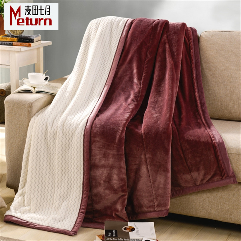 Double thick winter coral fleece blanket flannel blanket law levin velvet single double bed linen blankets specials