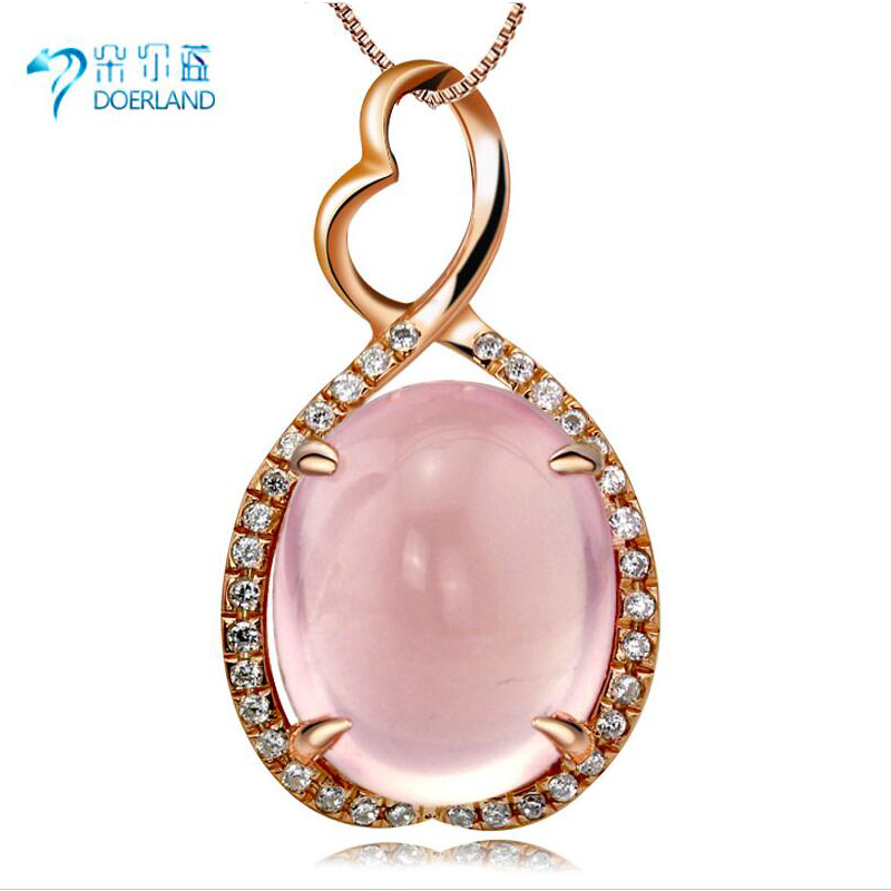 Doyle blue multicolored 925 silver plated rose gold pendant female natural pink crystal gemstone pendant recruit peach wang Marriage
