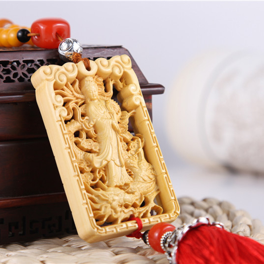 Dragon car ornaments guanyin car hanging pendant carved wooden ornaments car products