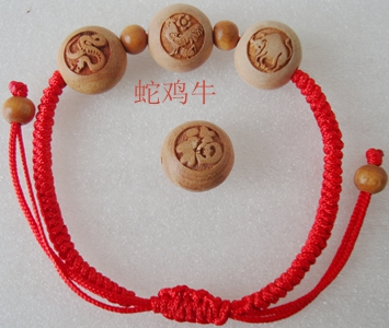 Dragon court edge mahogany triple elegant bracelet red string bracelet twelve zodiac wood carving arts and crafts accessorise