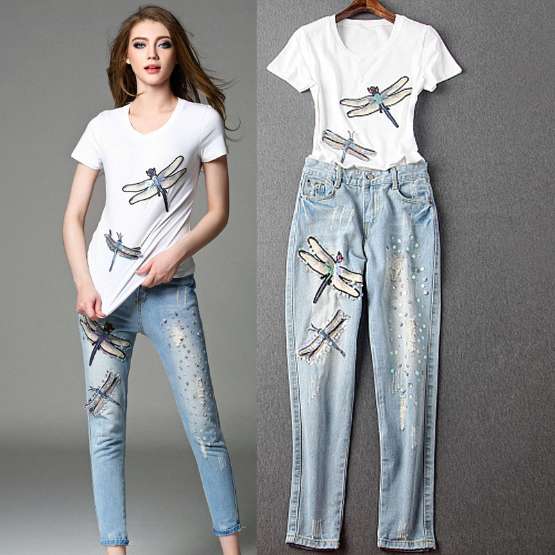 Dragonfly chun yu kee 2016 spring and summer new women sequined white t-shirt patch hole jeans pants fashion suit