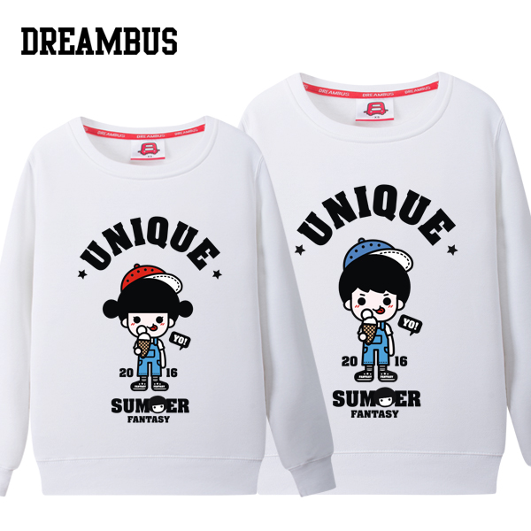 Dream bus lovers fall and winter clothes korean version of round neck sweater bottoming shirt cute card dblove pass printing 004