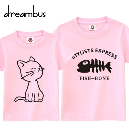 Dream bus lovers summer short sleeve t-shirt lovers korean love cats love fish bones 013