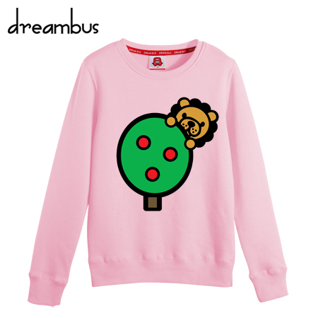 Dream bus models fall and winter clothes korean version of the cartoon college wind small lion round neck cashmere sweater yncp 106