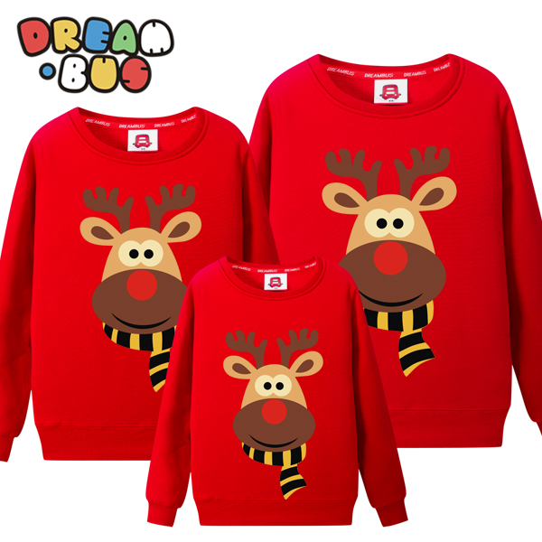 Dream bus new year year of the monkey family fitted a three spring christmas deer printed round neck cashmere sweater