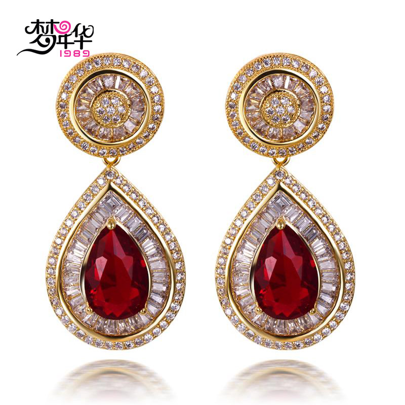 Dream love fashion artificial zircon inlaid handmade multicolor artificial zircon gold plated earrings earrings