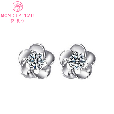 5a68f7e37 Get Quotations · Dream of summer flowers zircon crystal earrings 925  sterling silver stud earrings female temperament korean jewelry