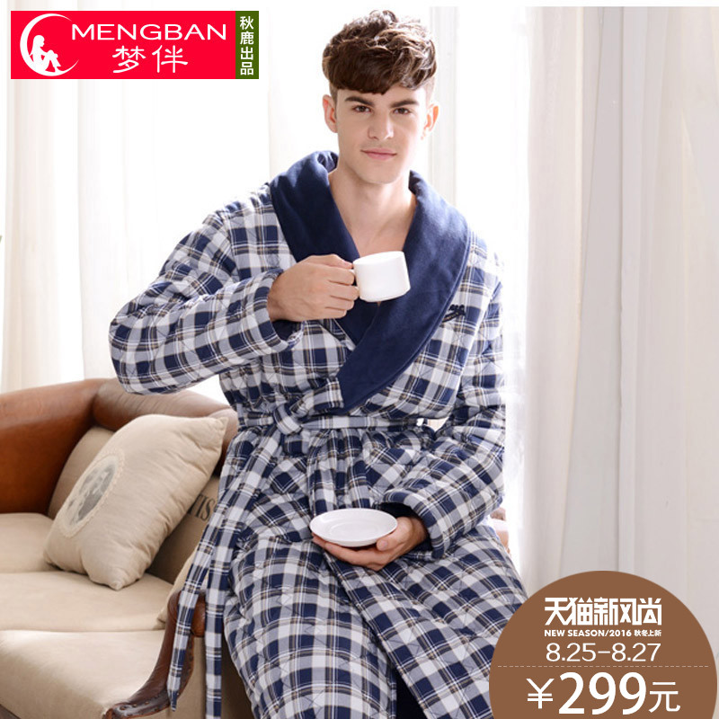 Dream with three quilted pajamas men's fashion plaid men's winter male robe bathrobe tracksuit plus thick