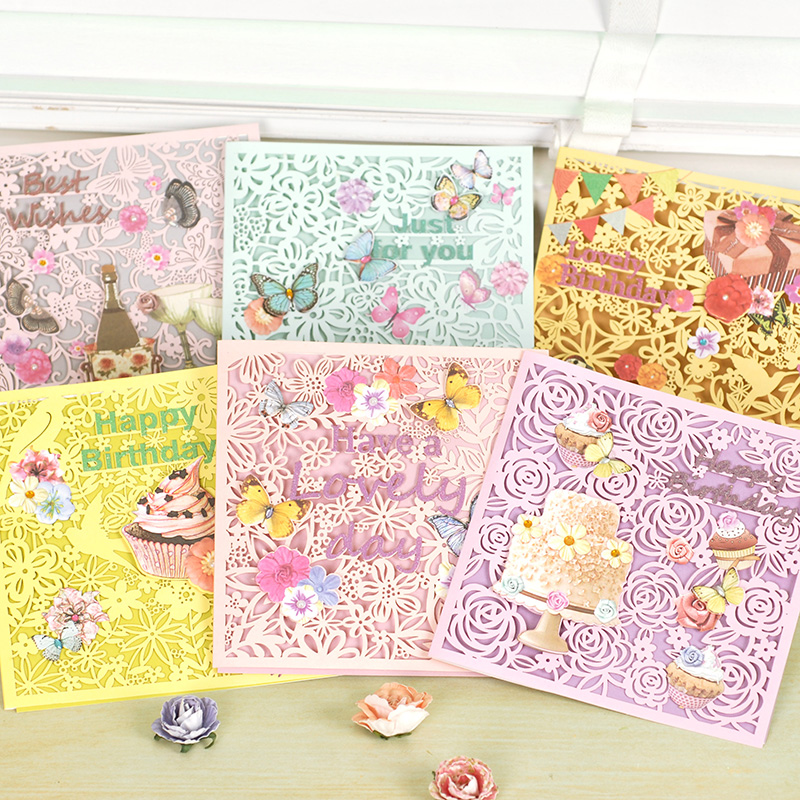 Dreamday decalcomania li carving glitter greeting cards flowers greeting card birthday card kavan WISH-1410